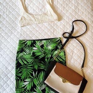 Palm leaf mini skirt